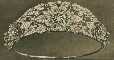 The Nizam of Hyderabad Tiara (with detachable rose brooches) - Queen Elizabeth wore this tiara occasionally after she received it as a wedding present until it was dismantled in 1973 to create the Burmese Ruby Tiara