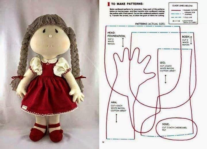 ARTESANATO COM QUIANE - Paps,Moldes,E.V.A,Feltro,Costuras,Fofuchas 3D: boneca de pano