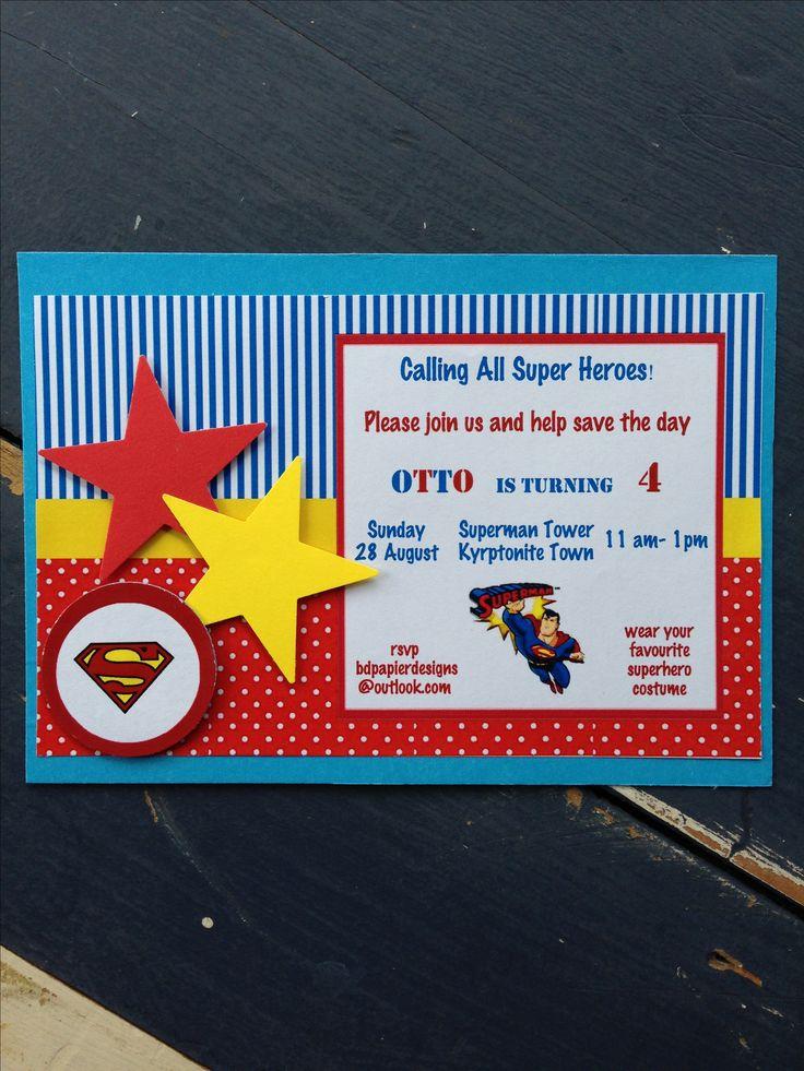 Handmade Superman Invitation