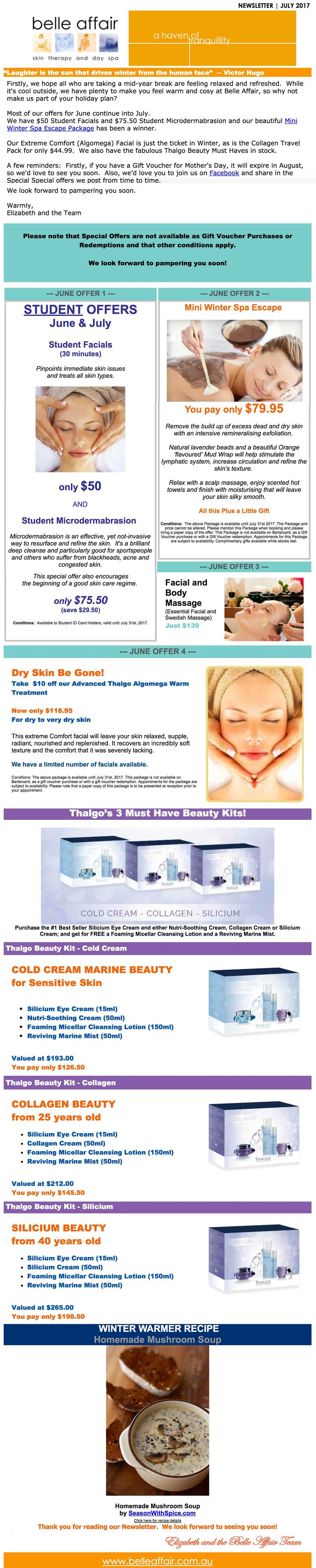 Belle Affair Skin Therapy and Day Spa - July Specials. belleaffair.com.au/special-offers/