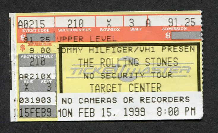 1999 Rolling Stones concert ticket stub No Security Tour Target Center Minnesota  | eBay