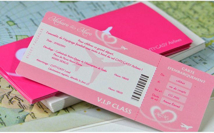 Recto Faire-part mariage billet d'avion coeur - L'Atelier d'Elsa