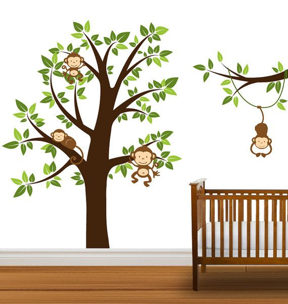 Tree Decal Monkeys Nursery Tree Vinyl Wall Stickers Tree Branch Boys or Girls via Etsy