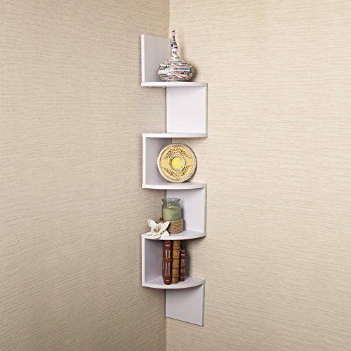 Large White Finish Corner Zig Zag Wall Shelf