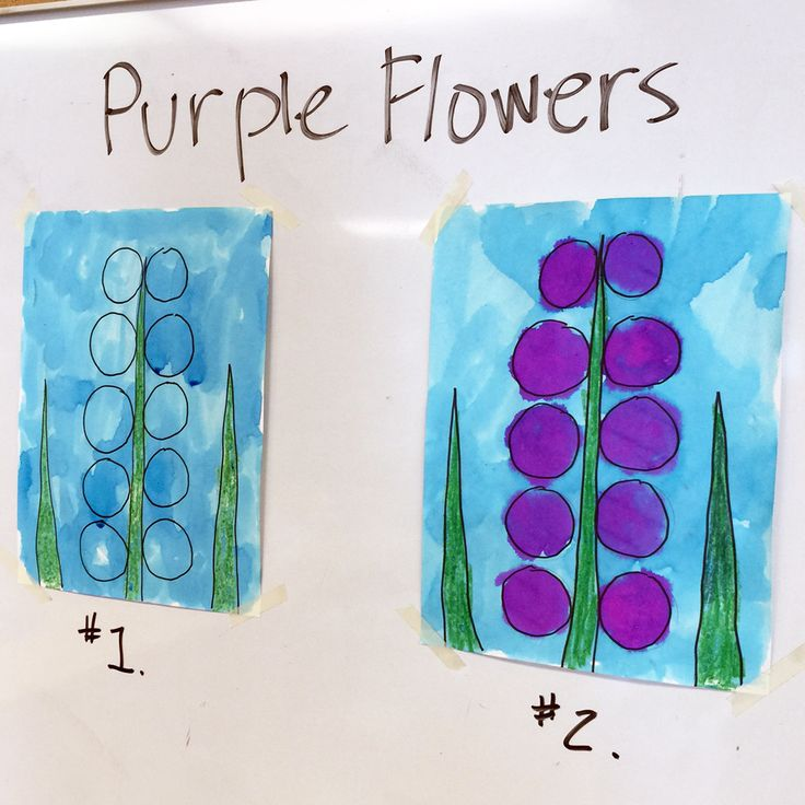 Painting with Pre-Kinders. Try layering colors, as in red (with added magenta) on turquoise to make some very simple #hyacinth flowers.