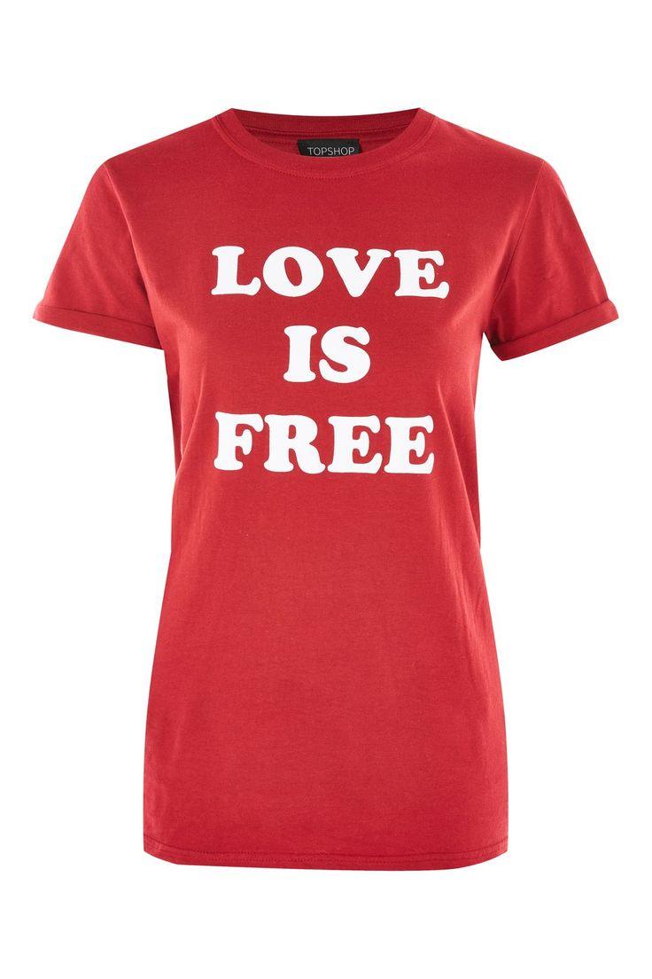 'Love Is Free' Slogan T-Shirt
