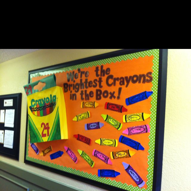 """Back to School bulletin board :)  Could do this and put each grade level teacher's name on one of the crayons.  For example, """"Mrs. Smith's Class"""""""