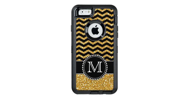 Gold Glitter Chevron Monogrammed Defender OtterBox Defender iPhone Case: Gold Glitter Chevron Monogrammed Defender OtterBox Defender iPhone…