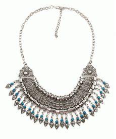 Osmanlı Motifli Kolye Bayanlar için Moda Takı Gümüş Rengi Mavi Taşlı Kolye