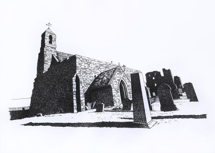 Tynemouth Priory Pen and Ink illustration