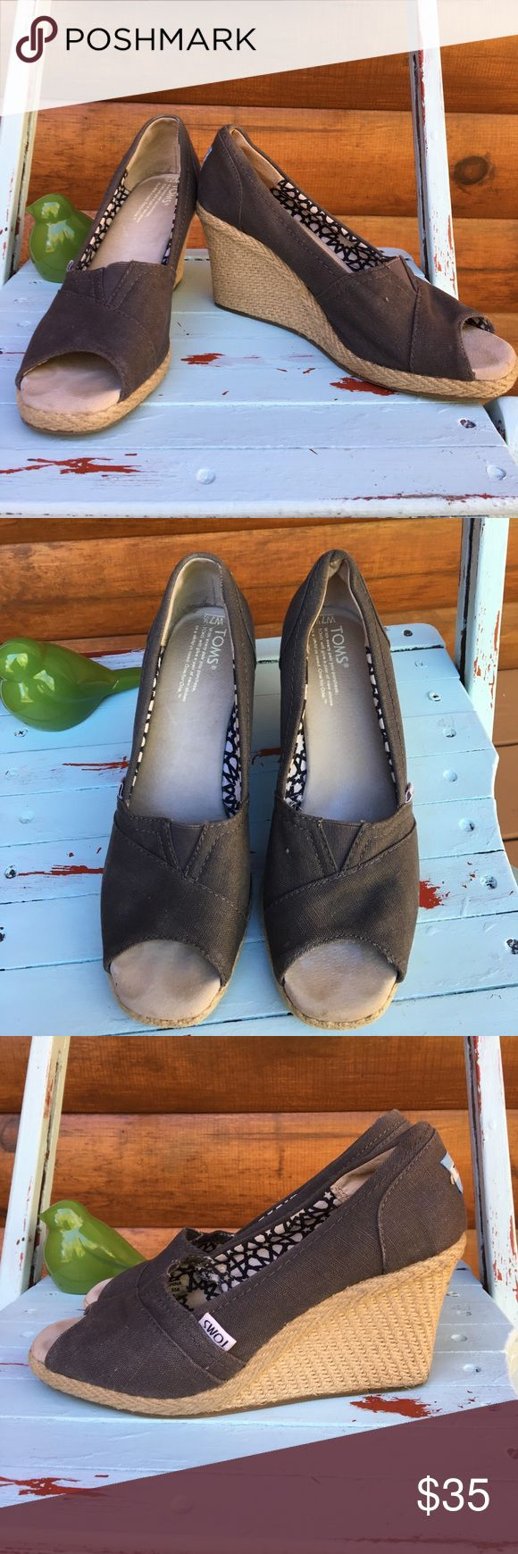 Gray Toms wedges Preloved but in great used condition Toms Shoes Wedges