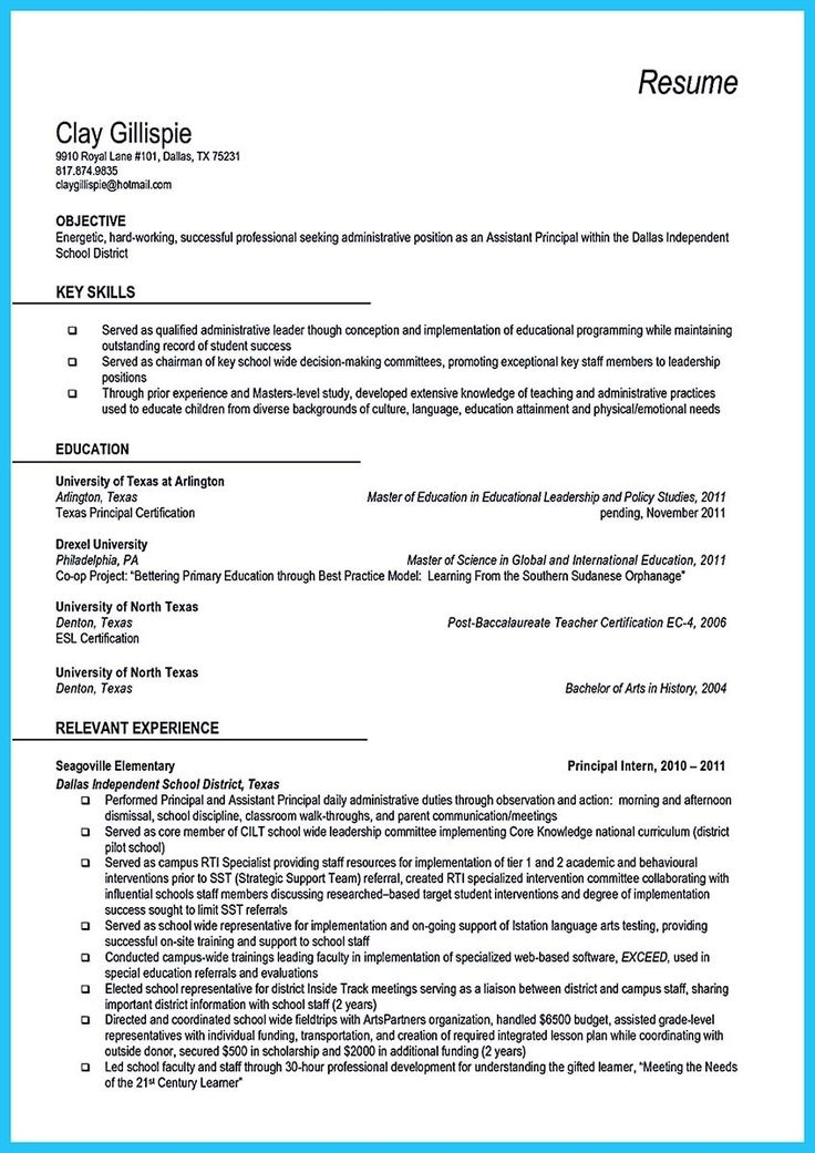 32 best Résumés images on Pinterest Resume, Sample resume and - sample principal resume