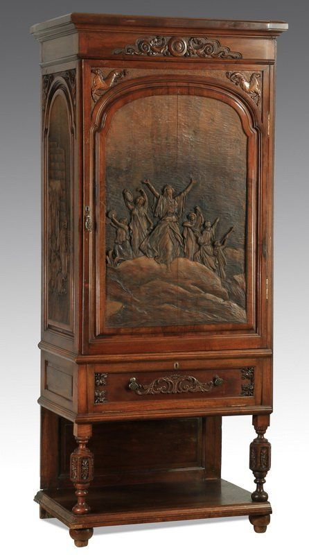 Italian carved walnut cabinet with mirrored interior for Italian kitchen cabinets online