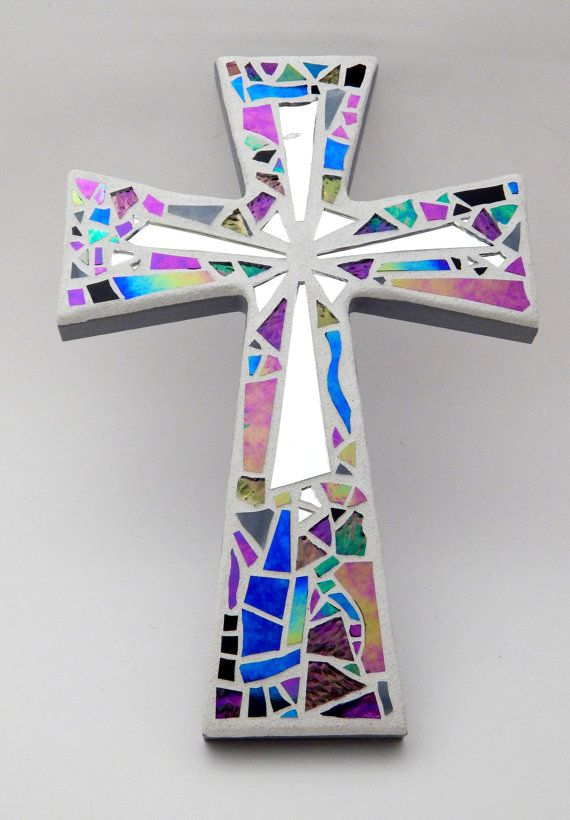 Mosaic Wall Cross Iridescent Textured by GreenBananaMosaicCo