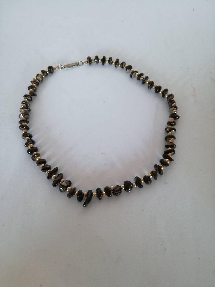 Collana corta in pietra- collana vintage-collana simile occhio di tigre-vecchia collana-collana della nonna di lovelymore su Etsy