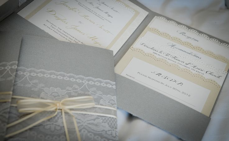 Handmade wedding invitations - grey & ivory + lace + pretty papers + ribbon <3