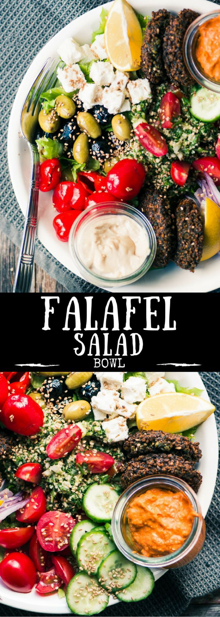 This healthy and protein rich Falafel Salad Bowl is a wonderful meatless main course salad. | Middle Eastern | vegetarian | lunch | Meatless Monday | Vegan