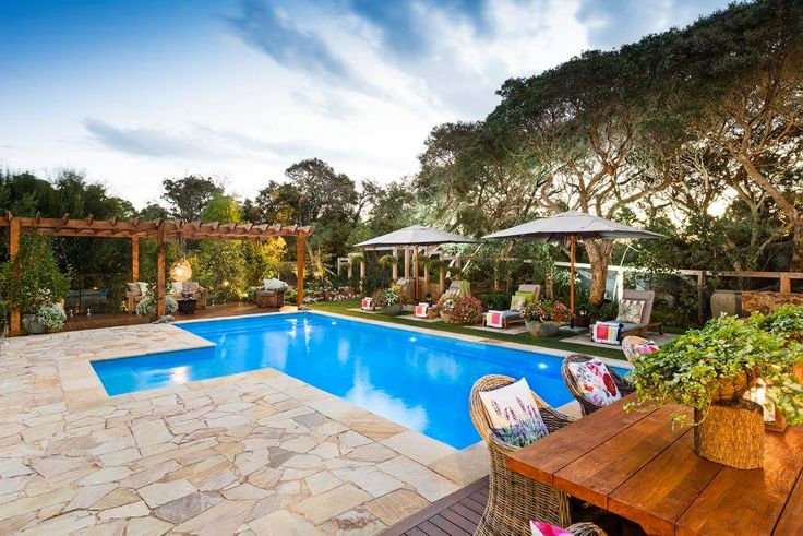 paving and landscape designed and constructed by abben art garden design, pergola and decking by outdoor woodworkz, pool constructed by albatros pools, entered in SPSA awards