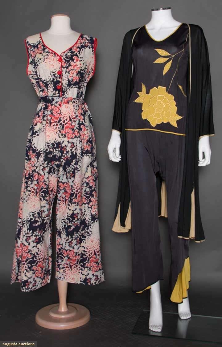 Two Pair Lounging Pajamas, circa 1930.