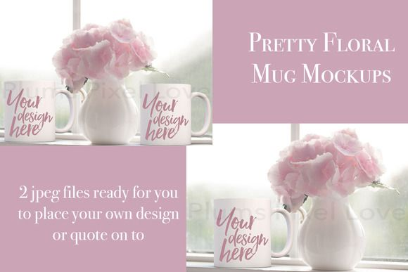 2 Pretty floral styled mug mockups by Plums Pixel Love on @creativemarket
