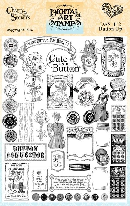 "Button Up is a jumbo sized Digital Art Stamp Set Download with 35 separate button and sewing designs at 300 ppi/dpi in PNG files that open as easily as a jpg for those with limited computer skills. Many of the images on this set are larger than regular stamps but can be re-sized for versatility. The 4 button cards are between 4.5"" to 5.5""H,  jars 5.5"", button border 12""W,  adorable mouse is 4""W. See sample preview sheets for all the image sizes. See our blog and this board for inspiring…"