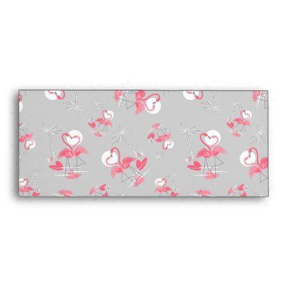 Flamingo Love Multi business envelope - retro gifts style cyo diy special idea