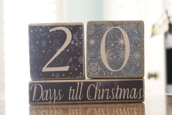 Days till Christmas Countdown Blocks by nothingbutcrafts on Etsy