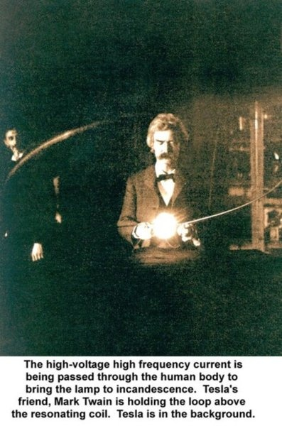 Mark Twain & Nikola Tesla,  in Tesla's lab, early 1894.  Tesla was an important contributor to the birth of commercial electricity, and is best known for developing the modern alternating current (AC) electrical supply system.  en.wikipedia.org/...