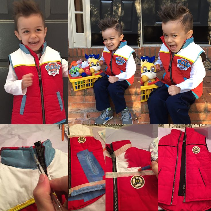 Handmade Ryder (Paw Patrol) costume. Found a red vest from a consignment store, painted it w/ acrylic paint (and puff paint) glued on a paw patrol tag as the badge.... Spiked the hair, found the white long sleeve shirt and blue cargo pants from Walmart :)