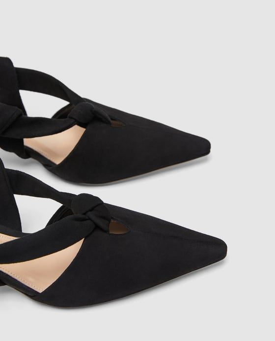 ZARA -  LEATHER SLINGBACK SHOES WITH ROUNDED HEELS