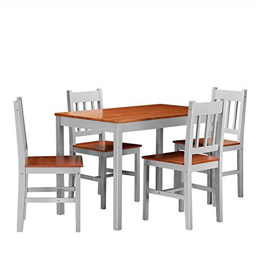 Pandamoto Solid Wood Pine Dining Table Set And 4 I Shape Chairs Set Kitchen Room  Tables