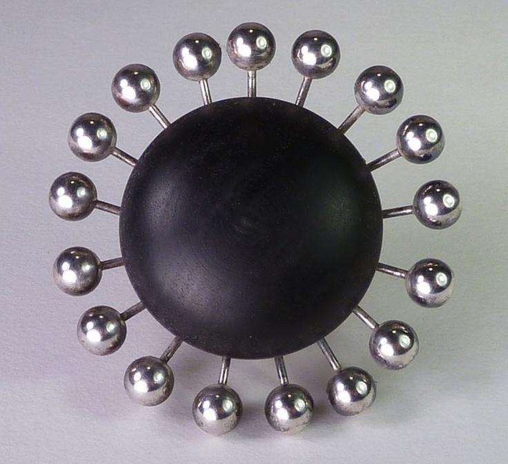 Vintage Modernist 813 Silver Ebony Geometric Pin Kaija Aarikka Finland 1962