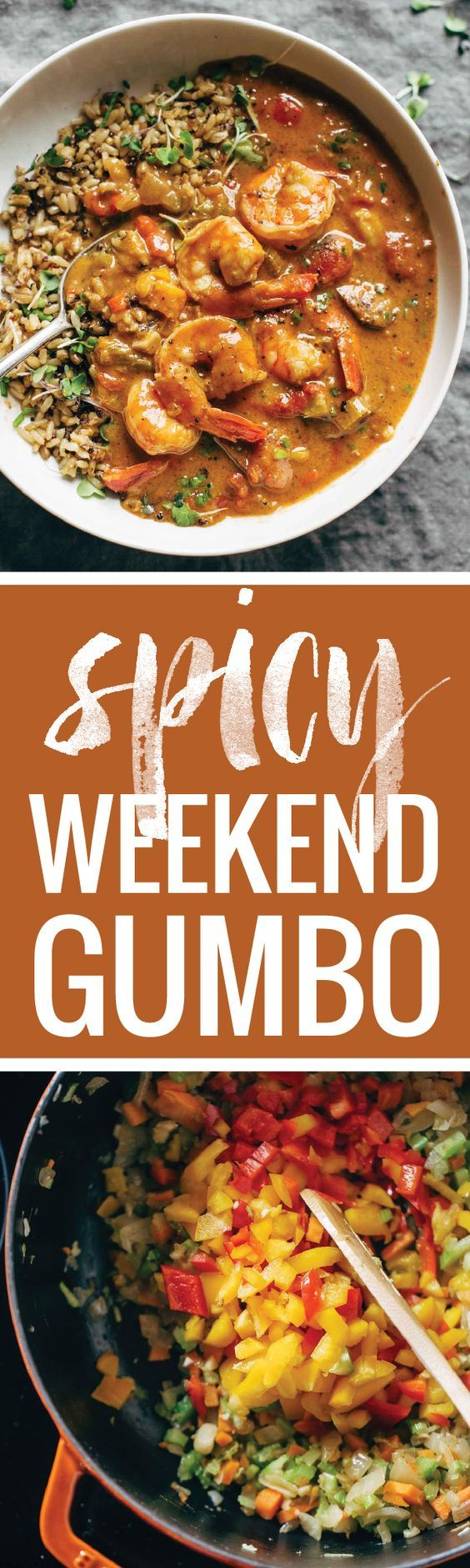 Spicy Weekend Gumbo - Garlic, carrots, celery, onion, tomatoes, flour, butter, shrimp simmered for an hour or two on the weekend to make for awesome meals all week!
