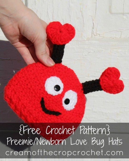 Cream Of The Crop Crochet Preemie Newborn Love Bug Hats