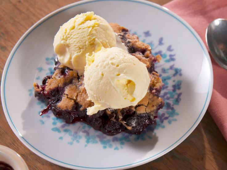 Blueberry Cobbler with Lemon Honey Ice Cream recipe from Nancy Fuller via Food Network
