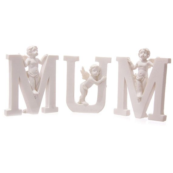 Small Angel MUM Letter Cherub Figurine Ornament by getgiftideas
