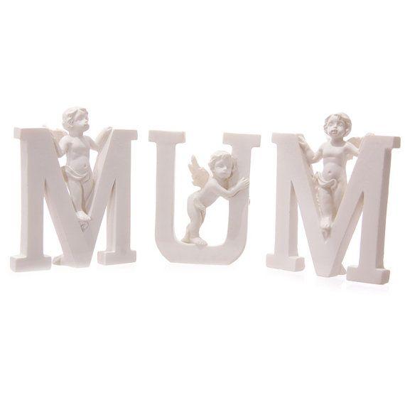 Small Angel MUM Letter Cherub Figurine Ornament by getgiftideas