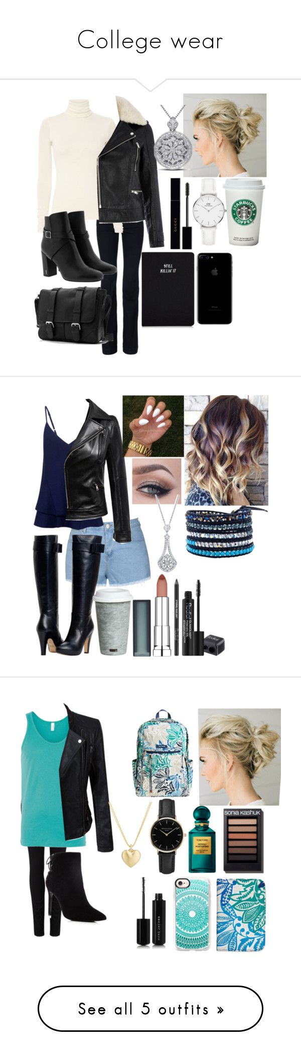"""College wear"" by raindanger-coffee ❤ liked on Polyvore featuring Daniel Wellington, STELLA McCARTNEY, Yves Saint Laurent, Warehouse, Miadora, Gucci, Ally Fashion, Markus Lupfer, Chicnova Fashion and Rodial"