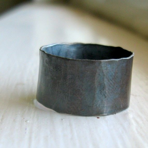 Mens Ring Rustic distressed wide sterling band  (tinahdee on Etsy)  love it!