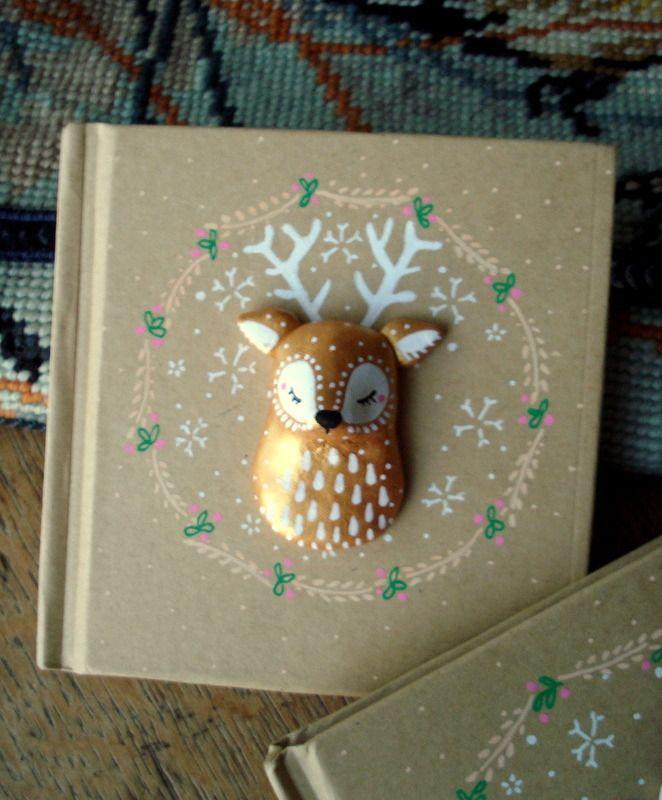 """Carnet """"Mon Cerf"""" oMamaWolf illustration et porcelaine froide, Mini-livre d'Or : Carnets, agendas par omamawolf"""