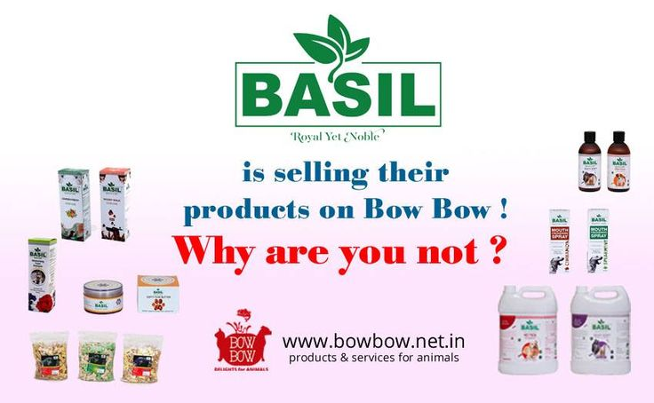BASIL has listed its products with BOW BOW!  Come and list your pet products with us @ www.bowbow.net.in  #bowbow #basil #petproducts #petservices #petgrooming #doglove #catlove #animallove #petfish #petbird