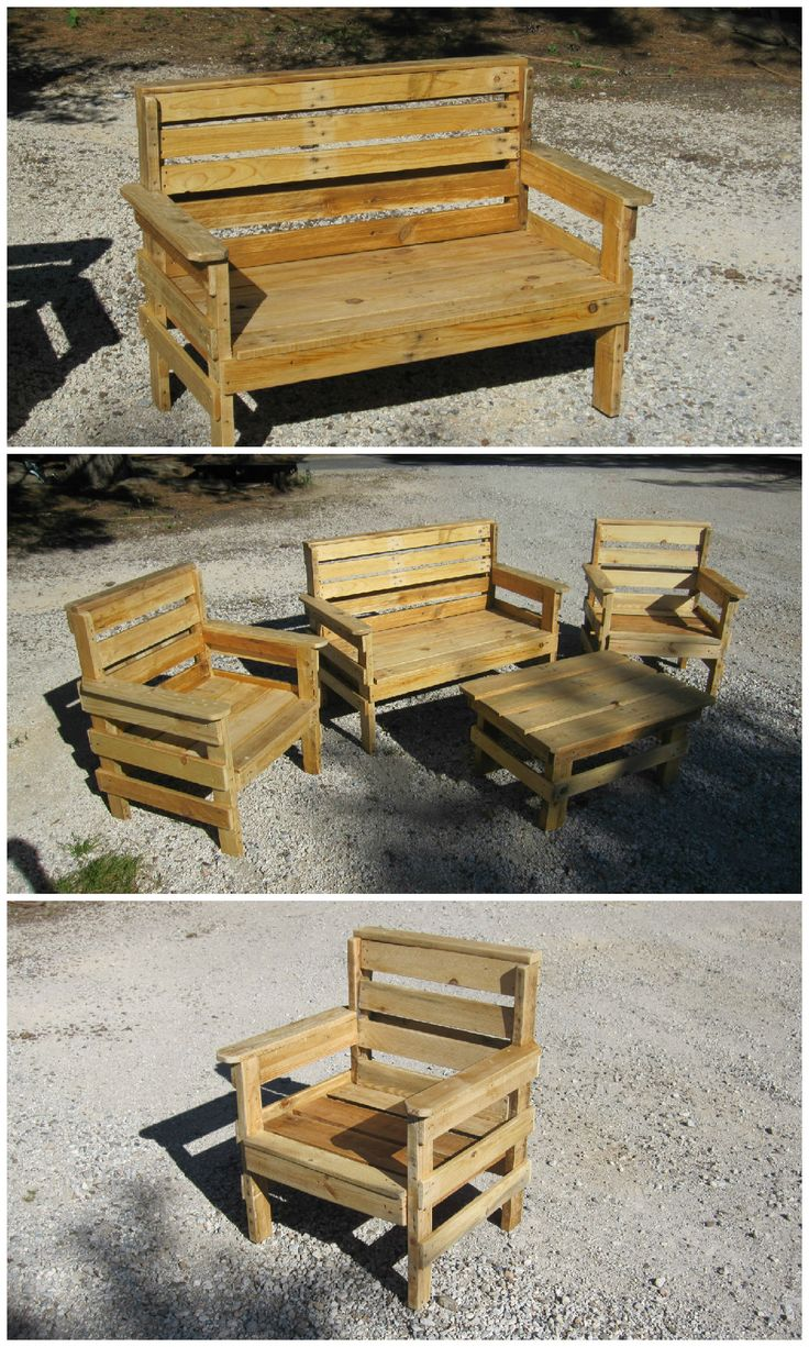 Garden set entirely made out of pallets and composed of a bench, a table and 2…