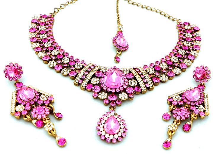 Indian Jewelry Gold Polished Fuchsia Pink + Gold Austrian Crystals Choker Necklace Set with Earrings Mang Tikka  (MCBCN67-GRWH) by Nostalgicpearls on Etsy