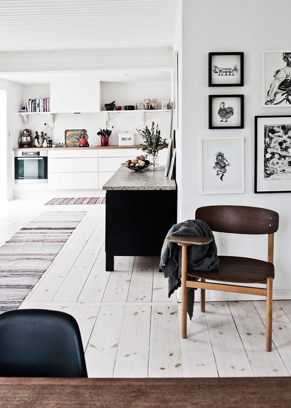 Unfinished pine floors // Home-of-Louise-Simony-3 #home #decor #Scandi #hygge #minimal #modern #retro #white