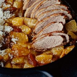 Duck breast with orange-ginger sauce    served with rice (recipe in Polish- I used Google and just translated it)