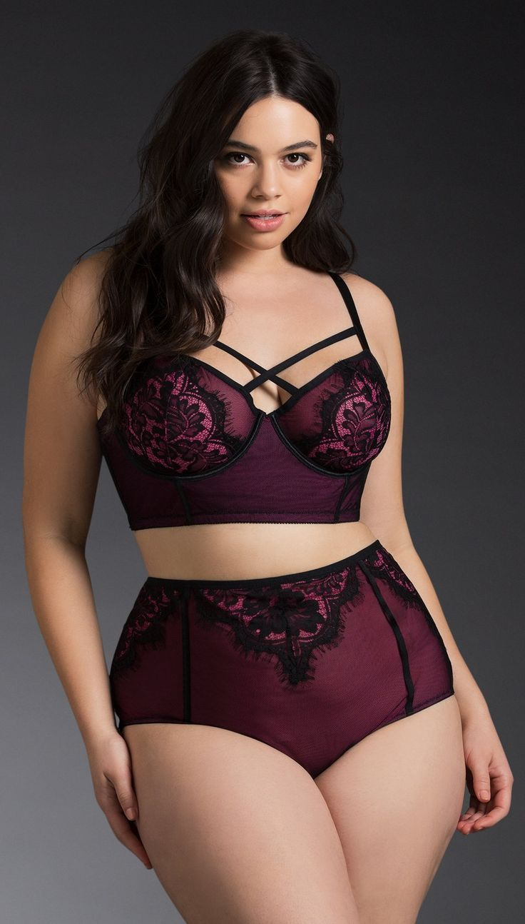 Plus Size Strappy Mesh Lace Long Line Bralette