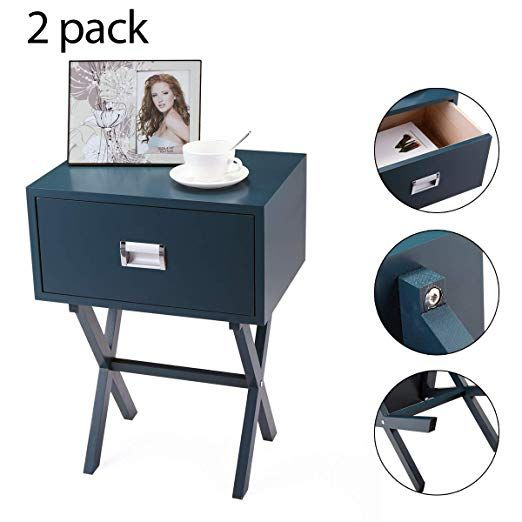 Amazon Com Jaxpety Set Of 2 Sofa Bedside Wooden Side Table End