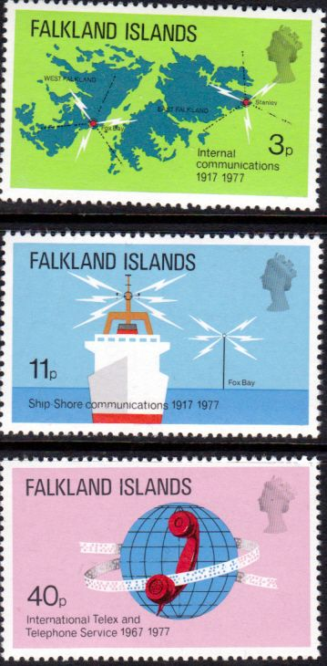 Falkland Islands 1977 Telecomunications Set Fine Mint SG 328 30 Scott 257 9 Other South Pacific and British Commonwealth Stamps HERE!