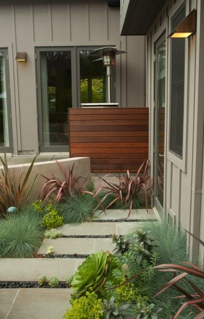 paving and planting: Contemporary Landscape, Backyard Ideas, Fence, Landscape Architecture, Front Yard, Garden, Shades Of Green, Green Landscape