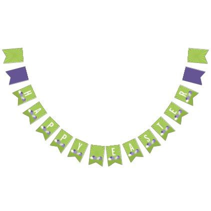 Ultra Violet & Green Happy Easter Bunting Banner - craft supplies diy custom design supply special